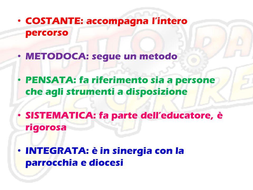 COSTANTE: accompagna l'intero percorso METODOCA: segue un metodo PENSATA: fa riferimento sia a persone che agli strumenti a disposizione SISTEMATICA: fa parte dell'educatore, è rigorosa INTEGRATA: è in sinergia con la parrocchia e diocesi