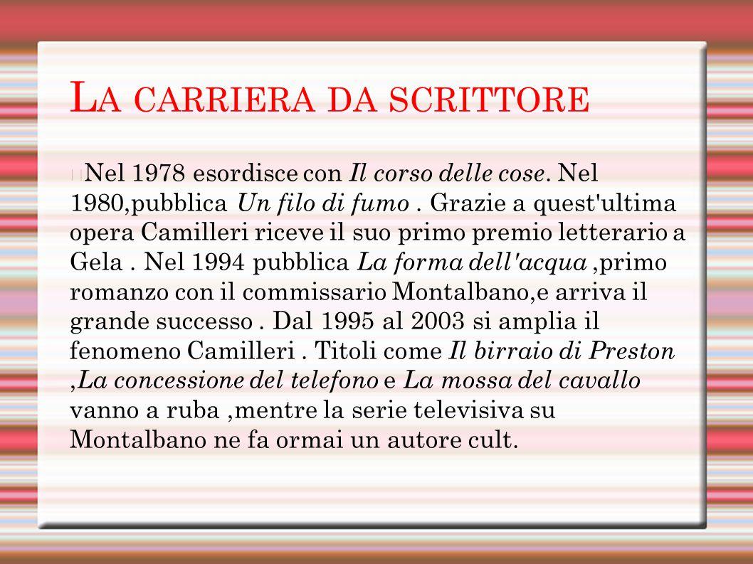L A CARRIERA DA SCRITTORE Nel 1978 esordisce con Il corso delle cose.