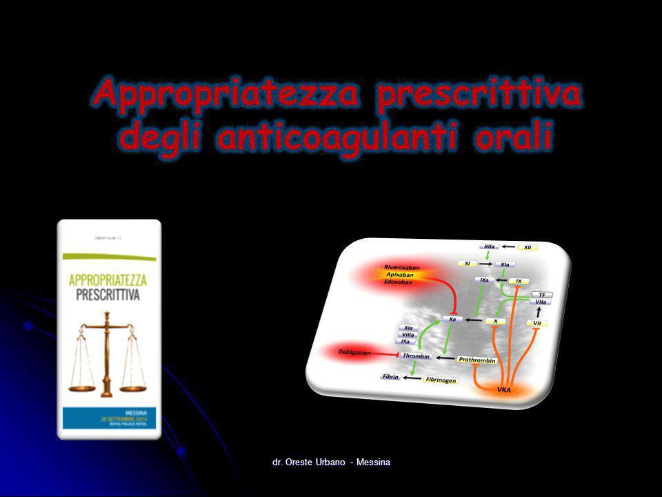 2008 Evoluzione dei farmaci anticoagulanti ATIII + Xa + IIa (Rapporto 1:1 )  Eparina 1930s ATIII + Xa 2002 IIa 2004 ATIII + Xa + IIa (Xa > IIa)  Eparina a basso peso molecolare 1980s II, VII, IX, X (Proteina C,S)  Antagonisti vitamina K 1940s Xa Inibitori diretti del fattore Xa per via orale IIa 1990s Inibitore indiretto Xa Inibitori diretti della trombina per via orale Inibitori diretti della trombina dr.