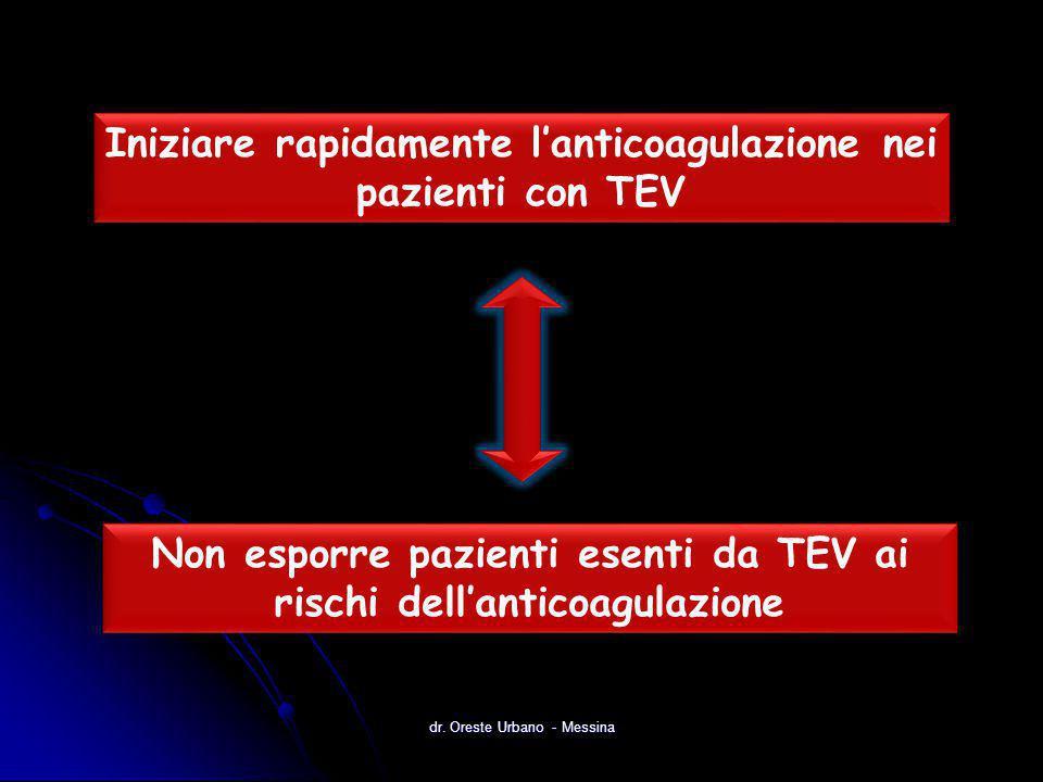 Iniziare rapidamente l'anticoagulazione nei pazienti con TEV Non esporre pazienti esenti da TEV ai rischi dell'anticoagulazione dr. Oreste Urbano - Me