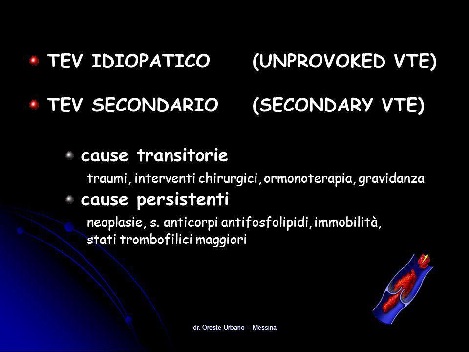 dr. Oreste Urbano - Messina TEV IDIOPATICO(UNPROVOKED VTE) TEV SECONDARIO(SECONDARY VTE) cause transitorie traumi, interventi chirurgici, ormonoterapi