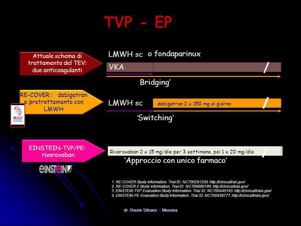 Rivaroxaban 2 x 15 mg/die per 3 settimane, poi 1 x 20 mg/die Giorno 1 EINSTEIN-TVP/PE: rivaroxaban 'Approccio con unico farmaco' VKA LMWH sc Giorno 1G