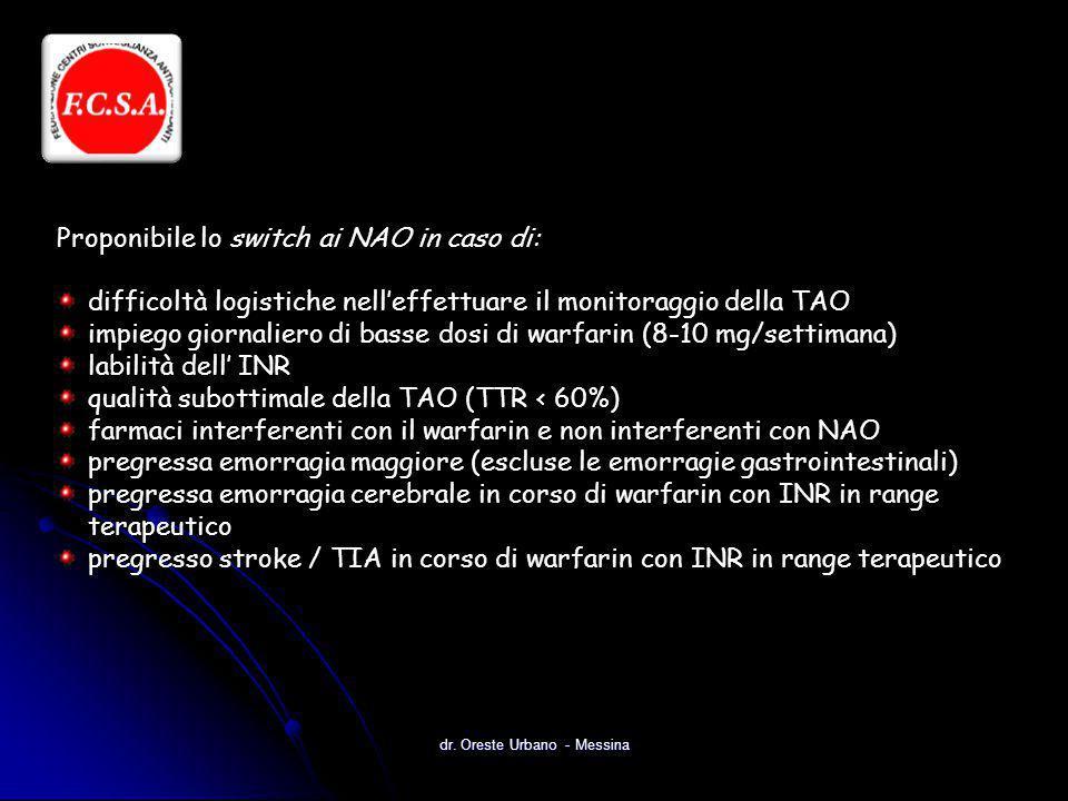 dr. Oreste Urbano - Messina Proponibile lo switch ai NAO in caso di: difficoltà logistiche nell'effettuare il monitoraggio della TAO impiego giornalie