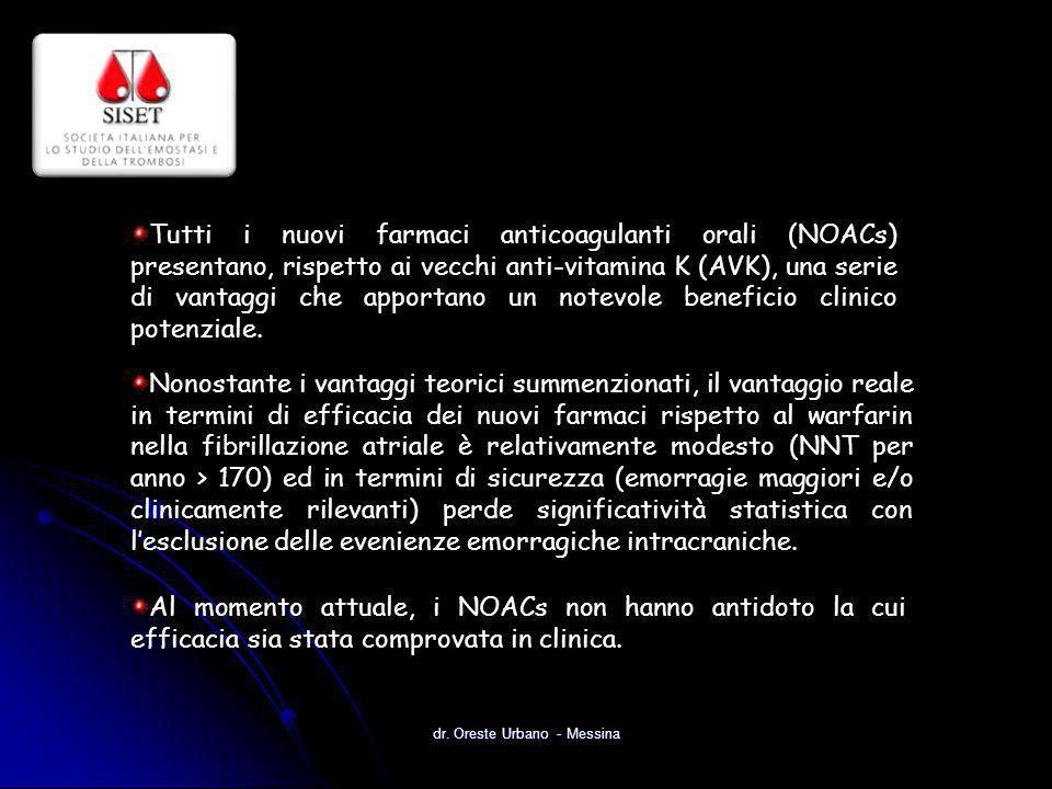 dr. Oreste Urbano - Messina Tutti i nuovi farmaci anticoagulanti orali (NOACs) presentano, rispetto ai vecchi anti-vitamina K (AVK), una serie di vant