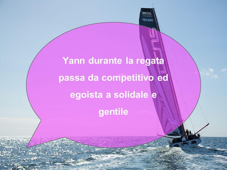 Yann durante la regata passa da competitivo ed egoista a solidale e gentile