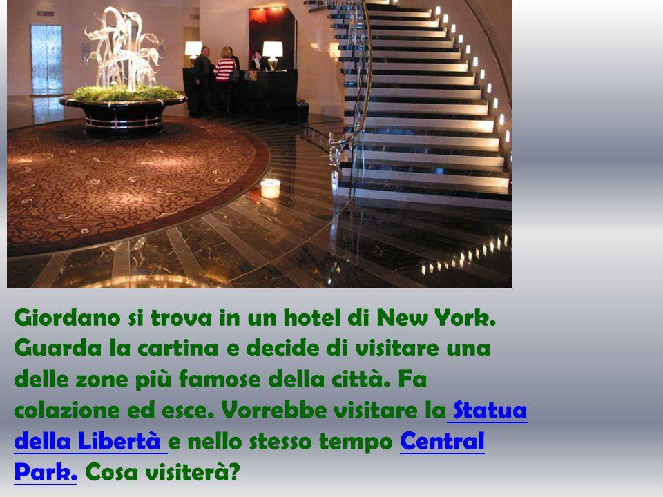 Giordano si trova in un hotel di New York.