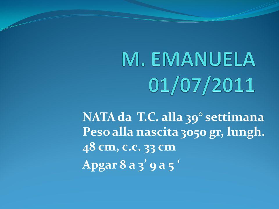 NATA da T.C. alla 39° settimana Peso alla nascita 3050 gr, lungh. 48 cm, c.c. 33 cm Apgar 8 a 3' 9 a 5 '