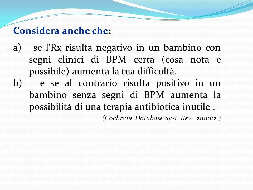 Considera anche che: a) se l'Rx risulta negativo in un bambino con segni clinici di BPM certa (cosa nota e possibile) aumenta la tua difficoltà. b) e