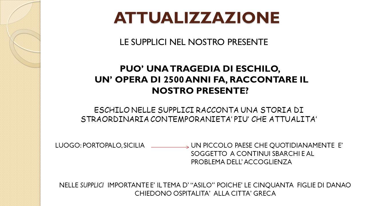 TRAGEDIA ATTUALE NOTTE DI NATALE 1996 A PORTOPALO (SICILIA) 283 EMIGRANTI SONO MORTI SULLA COSTA SICILIANA DIVENTA FRONTIERA DELLA NOTTE DELLA DISPERAZIONE DEL MEDITERRANEO, UN COINVOLGENTE RACCONTO BASATO SULLE SUPPLICI DI ESCHILO, CHE METTE IN SCENA LA DIFFICILE DECISIONE DELLA CITTA' DI FRONTE ALLA RICHIESTA D'ASILO A CHI FUGGE DALLA GUERRRA DALLA FAME E DALLA CARESTIA I VERSI DI ESCHILO SI INTRECCIANO CON I RACCONTI DI EMIGRANTI CHE APPRODANO IN SICILIA DALLE COSTE AFRICANE.