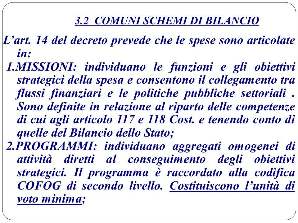 3.2 COMUNI SCHEMI DI BILANCIO L'art. 14 del decreto prevede che le spese sono articolate in: 1.MISSIONI: individuano le funzioni e gli obiettivi strat