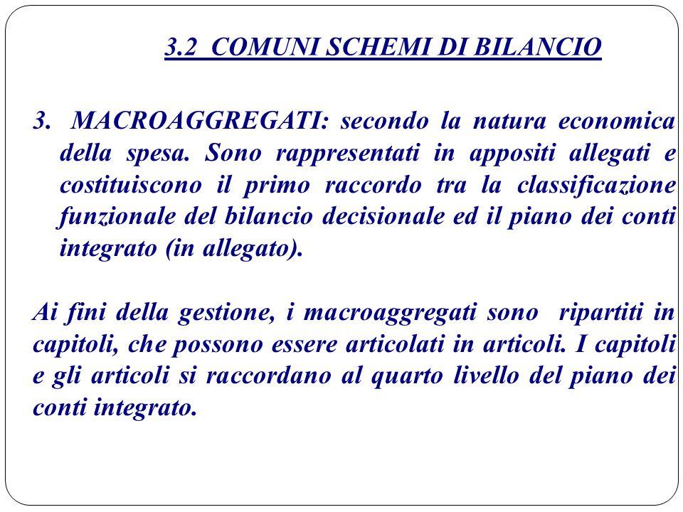 3.2 COMUNI SCHEMI DI BILANCIO 3.MACROAGGREGATI: secondo la natura economica della spesa. Sono rappresentati in appositi allegati e costituiscono il pr