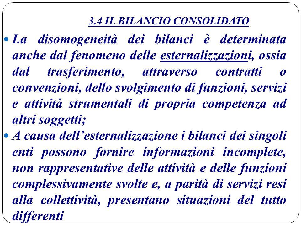 3.4 IL BILANCIO CONSOLIDATO La disomogeneità dei bilanci è determinata anche dal fenomeno delle esternalizzazioni, ossia dal trasferimento, attraverso