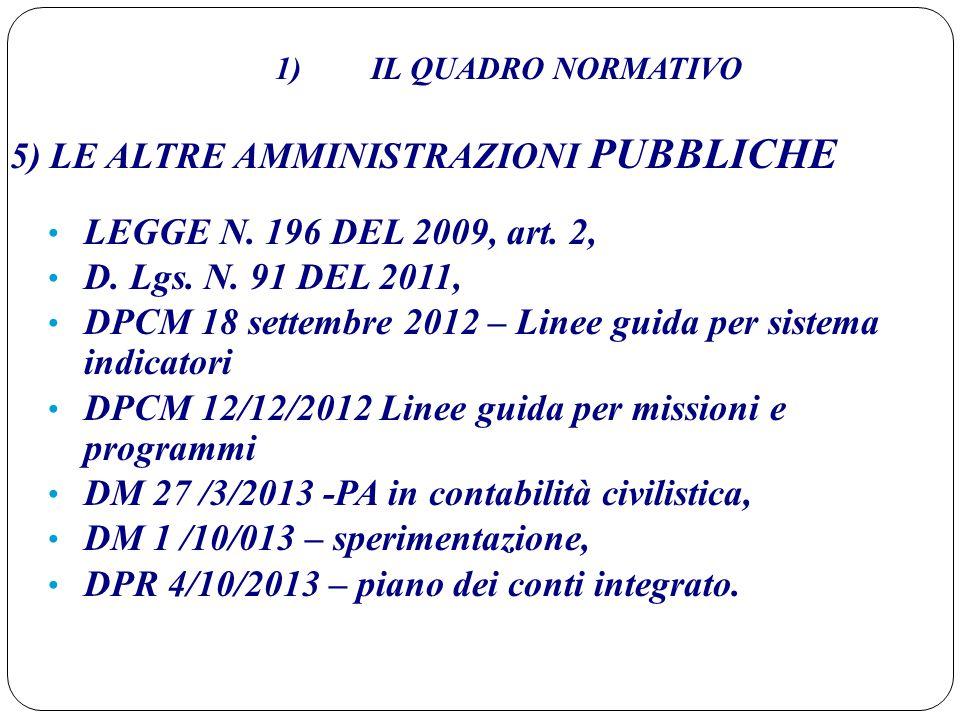 1) IL QUADRO NORMATIVO 5) LE ALTRE AMMINISTRAZIONI PUBBLICHE LEGGE N. 196 DEL 2009, art. 2, D. Lgs. N. 91 DEL 2011, DPCM 18 settembre 2012 – Linee gui
