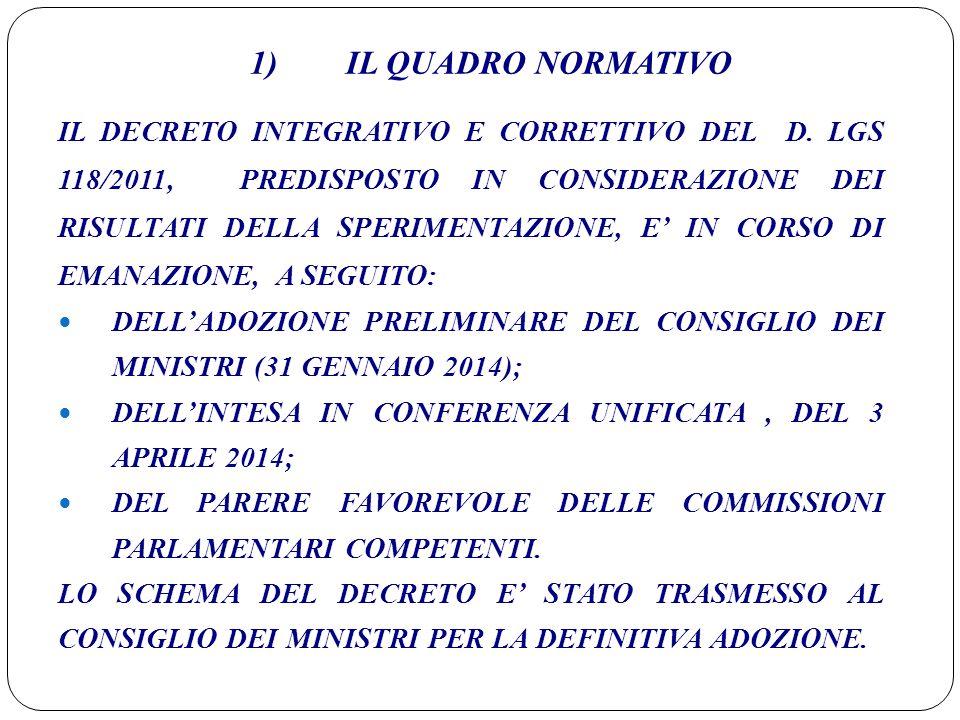 1) IL QUADRO NORMATIVO IL DECRETO INTEGRATIVO E CORRETTIVO DEL D. LGS 118/2011, PREDISPOSTO IN CONSIDERAZIONE DEI RISULTATI DELLA SPERIMENTAZIONE, E'