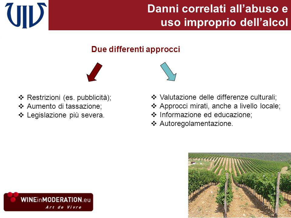 Danni correlati all'abuso e uso improprio dell'alcol Due differenti approcci  Restrizioni (es.