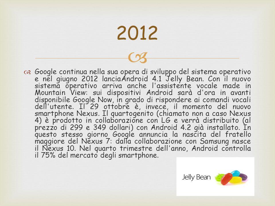   Google continua nella sua opera di sviluppo del sistema operativo e nel giugno 2012 lanciaAndroid 4.1 Jelly Bean.