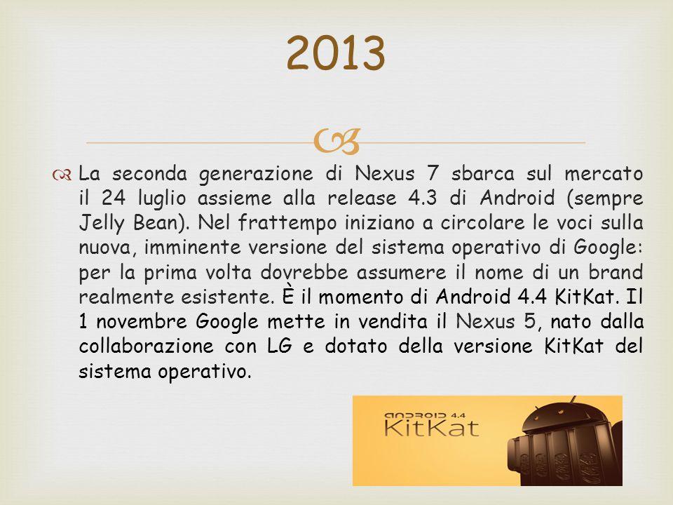   La seconda generazione di Nexus 7 sbarca sul mercato il 24 luglio assieme alla release 4.3 di Android (sempre Jelly Bean).