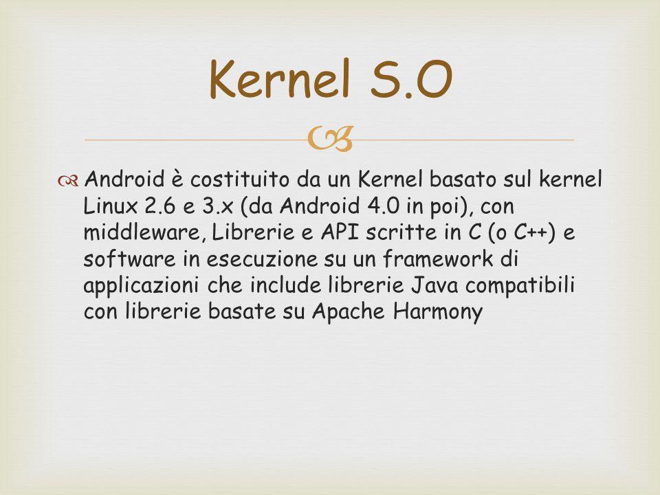   Android è costituito da un Kernel basato sul kernel Linux 2.6 e 3.x (da Android 4.0 in poi), con middleware, Librerie e API scritte in C (o C++) e software in esecuzione su un framework di applicazioni che include librerie Java compatibili con librerie basate su Apache Harmony Kernel S.O