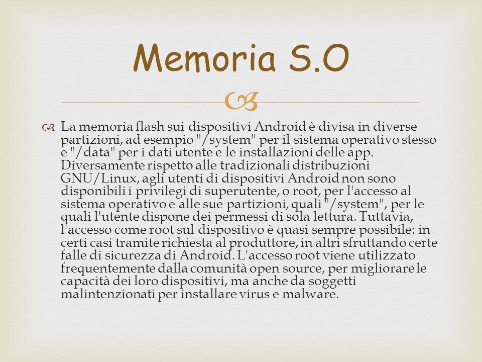   La memoria flash sui dispositivi Android è divisa in diverse partizioni, ad esempio /system per il sistema operativo stesso e /data per i dati utente e le installazioni delle app.