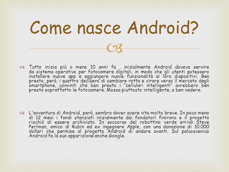   Tutto inizia più o meno 10 anni fa, inizialmente Android doveva servire da sistema operativo per fotocamere digitali, in modo che gli utenti potessero installare nuove app e aggiungere nuove funzionalità ai loro dispositivi.