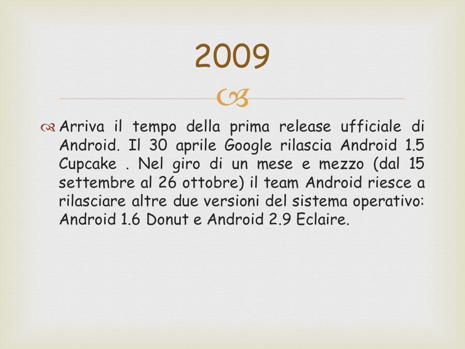   Arriva il tempo della prima release ufficiale di Android. Il 30 aprile Google rilascia Android 1.5 Cupcake. Nel giro di un mese e mezzo (dal 15 se