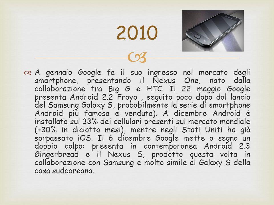   A gennaio Google fa il suo ingresso nel mercato degli smartphone, presentando il Nexus One, nato dalla collaborazione tra Big G e HTC. Il 22 maggi