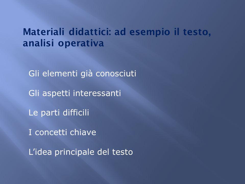 Materiali didattici: ad esempio il testo, analisi operativa Gli elementi già conosciuti Gli aspetti interessanti Le parti difficili I concetti chiave L'idea principale del testo