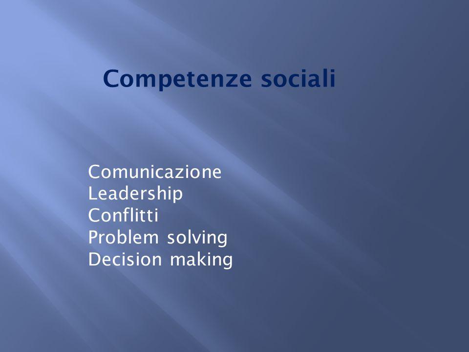 Competenze sociali Comunicazione Leadership Conflitti Problem solving Decision making