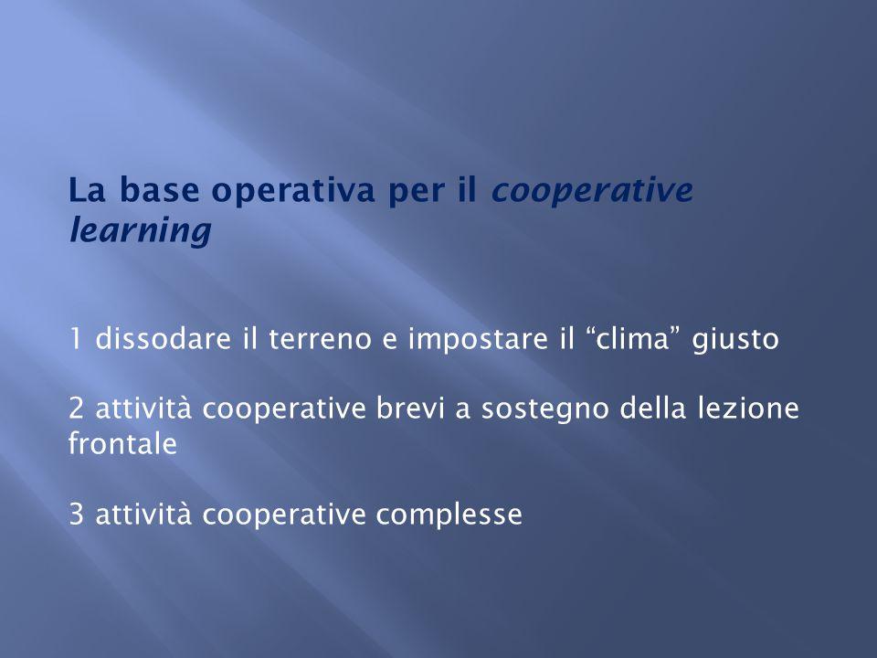 La base operativa per il cooperative learning 1 dissodare il terreno e impostare il clima giusto 2 attività cooperative brevi a sostegno della lezione frontale 3 attività cooperative complesse