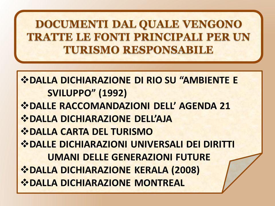 DOCUMENTI DAL QUALE VENGONO TRATTE LE FONTI PRINCIPALI PER UN TURISMO RESPONSABILE  DALLA DICHIARAZIONE DI RIO SU AMBIENTE E SVILUPPO (1992)  DALLE RACCOMANDAZIONI DELL' AGENDA 21  DALLA DICHIARAZIONE DELL'AJA  DALLA CARTA DEL TURISMO  DALLE DICHIARAZIONI UNIVERSALI DEI DIRITTI UMANI DELLE GENERAZIONI FUTURE  DALLA DICHIARAZIONE KERALA (2008)  DALLA DICHIARAZIONE MONTREAL