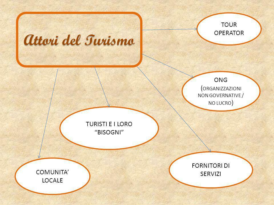 Attori del Turismo ONG ( ORGANIZZAZIONI NON GOVERNATIVE / NO LUCRO ) COMUNITA' LOCALE TURISTI E I LORO BISOGNI FORNITORI DI SERVIZI TOUR OPERATOR