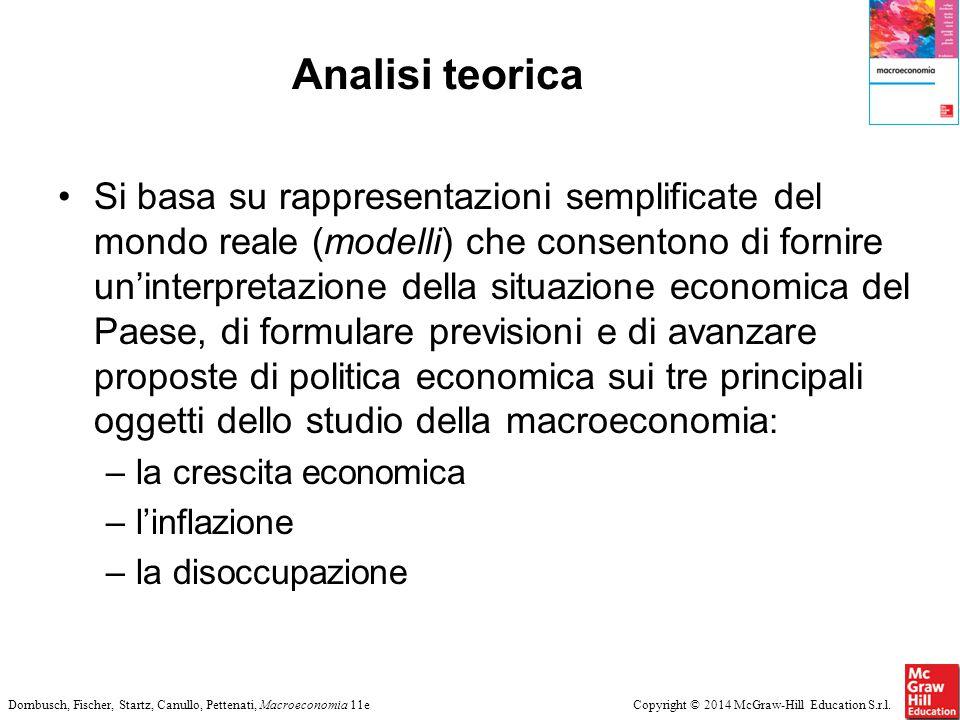 Copyright © 2014 McGraw-Hill Education S.r.l.Dornbusch, Fischer, Startz, Canullo, Pettenati, Macroeconomia 11e Analisi teorica Si basa su rappresentaz