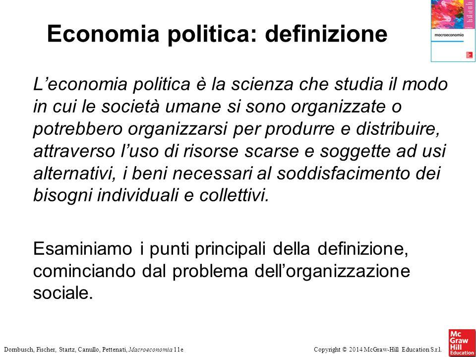 Copyright © 2014 McGraw-Hill Education S.r.l.Dornbusch, Fischer, Startz, Canullo, Pettenati, Macroeconomia 11e Economia politica: definizione L'econom