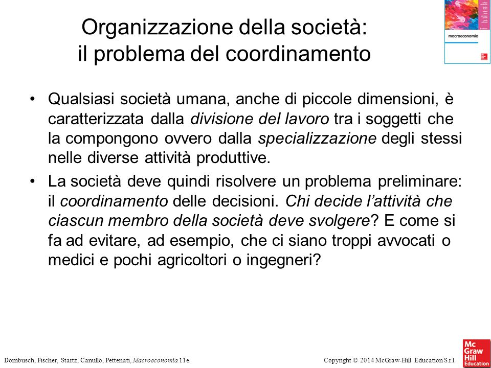 Copyright © 2014 McGraw-Hill Education S.r.l.Dornbusch, Fischer, Startz, Canullo, Pettenati, Macroeconomia 11e Organizzazione della società: il proble