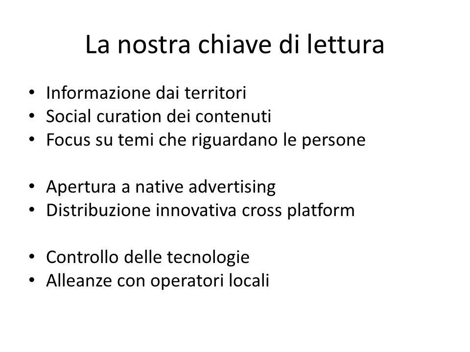 La nostra chiave di lettura Informazione dai territori Social curation dei contenuti Focus su temi che riguardano le persone Apertura a native advertising Distribuzione innovativa cross platform Controllo delle tecnologie Alleanze con operatori locali