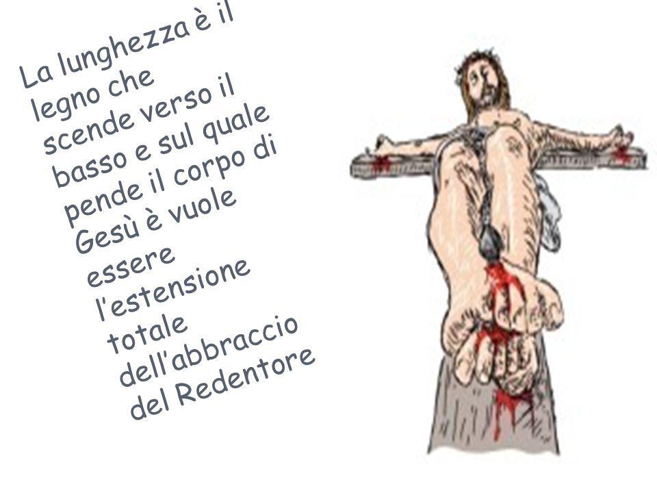 La lunghezza è il legno che scende verso il basso e sul quale pende il corpo di Gesù è vuole essere l'estensione totale dell'abbraccio del Redentore