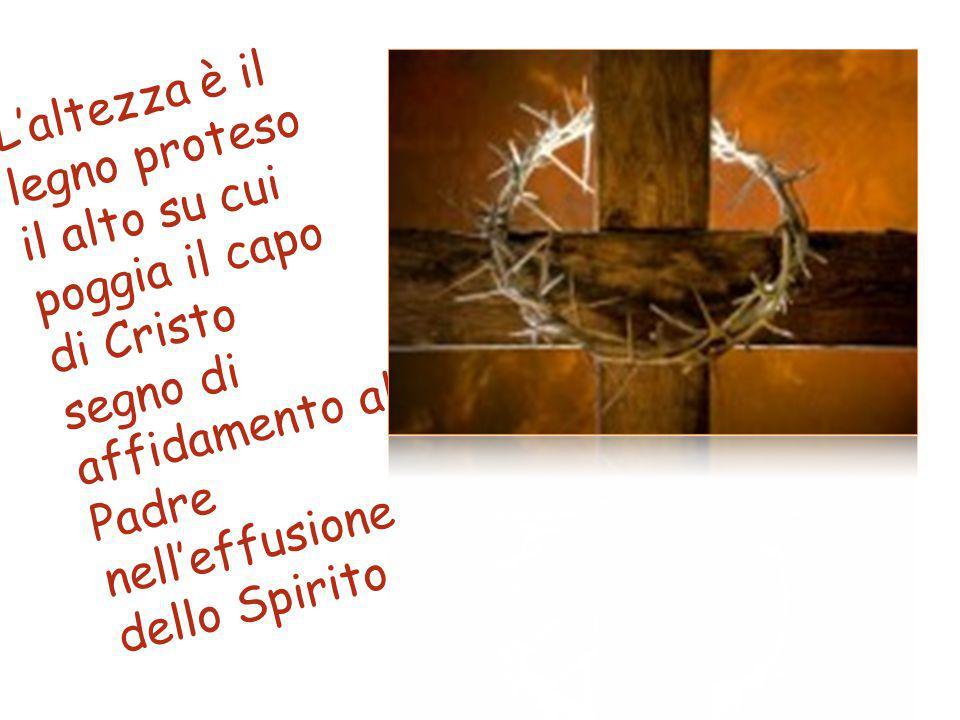 L'altezza è il legno proteso il alto su cui poggia il capo di Cristo segno di affidamento al Padre nell'effusione dello Spirito