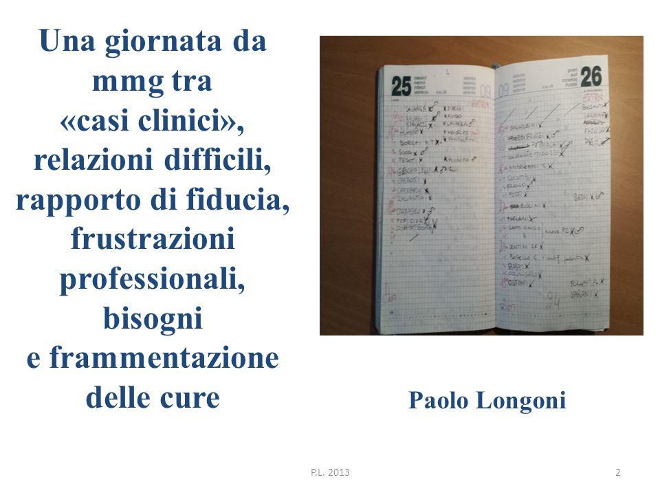 Una giornata da mmg tra «casi clinici», relazioni difficili, rapporto di fiducia, frustrazioni professionali, bisogni e frammentazione delle cure Paolo Longoni P.L.