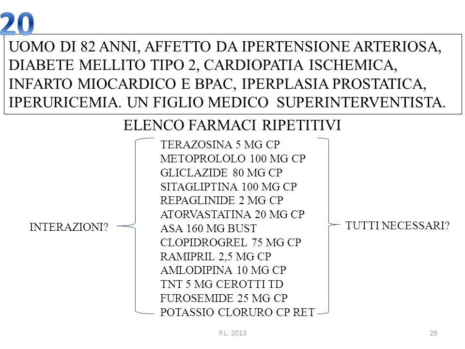 P.L. 201329 UOMO DI 82 ANNI, AFFETTO DA IPERTENSIONE ARTERIOSA, DIABETE MELLITO TIPO 2, CARDIOPATIA ISCHEMICA, INFARTO MIOCARDICO E BPAC, IPERPLASIA P