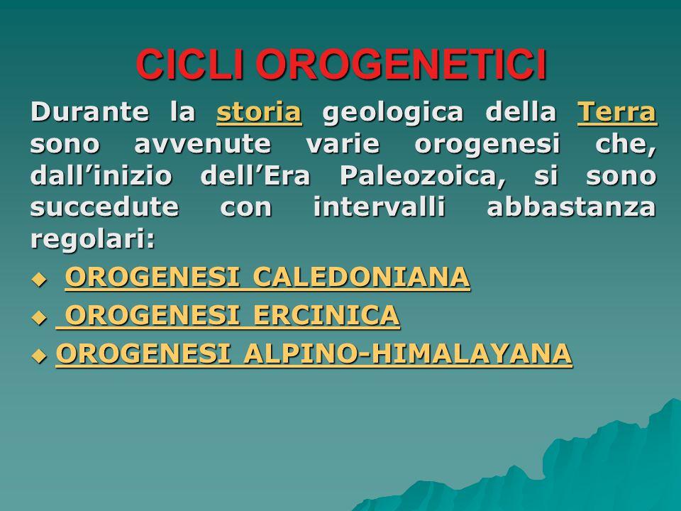CICLI OROGENETICI Durante la storia geologica della Terra sono avvenute varie orogenesi che, dall'inizio dell'Era Paleozoica, si sono succedute con in
