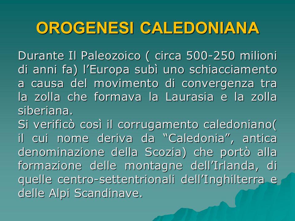 OROGENESI CALEDONIANA Durante Il Paleozoico ( circa 500-250 milioni di anni fa) l'Europa subì uno schiacciamento a causa del movimento di convergenza