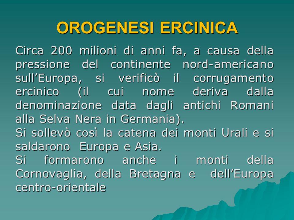 OROGENESI ALPINO-HIMALAYANA A cominciare da circa 180 milioni di anni fa lo spostamento della zolla africana verso quella Eurasiatica determinò la formazione delle Alpi, dei Pirenei, dei Carpazi e dei Balcani.