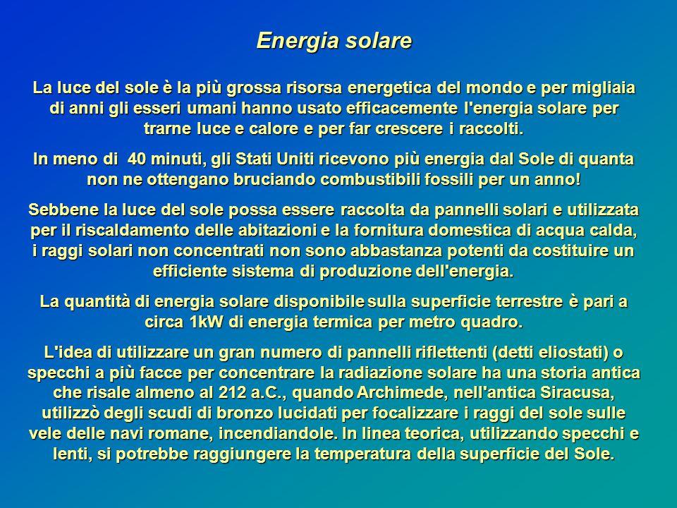 Energia solare La luce del sole è la più grossa risorsa energetica del mondo e per migliaia di anni gli esseri umani hanno usato efficacemente l energia solare per trarne luce e calore e per far crescere i raccolti.