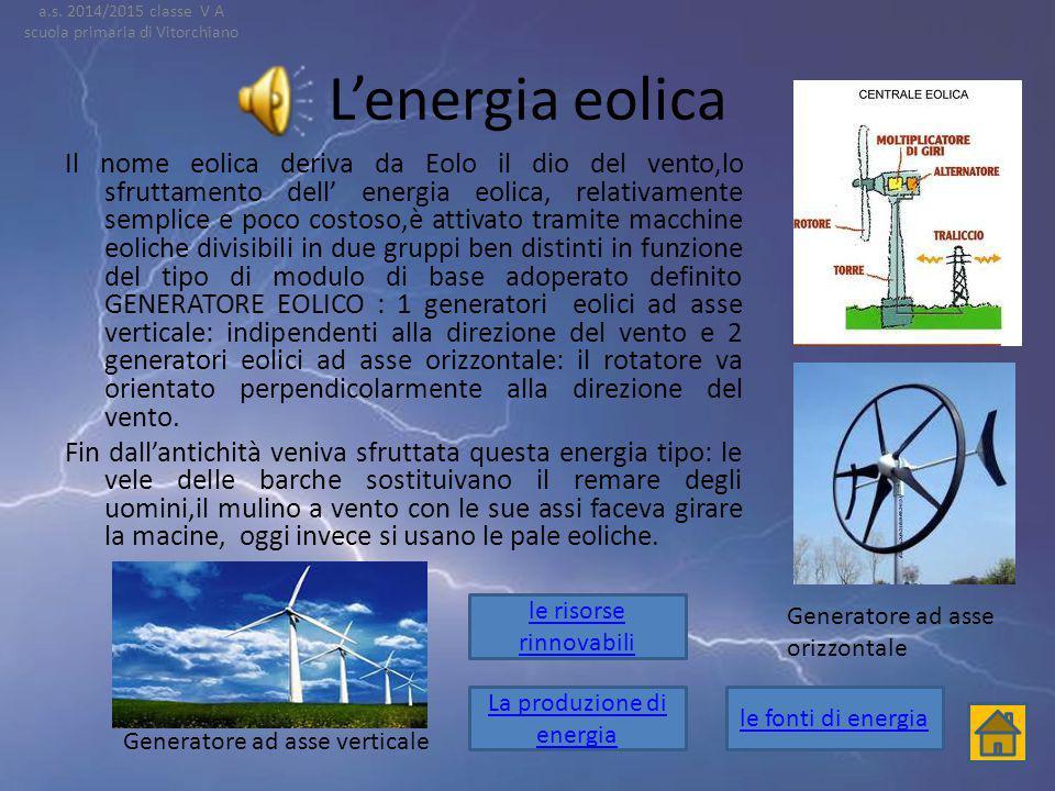 La centrale idroelettrica Le turbine sono mosse dalla forza di caduta dell'acqua (energia cinetica) l'energia prodotta e pulita cioè non inquina L'acq