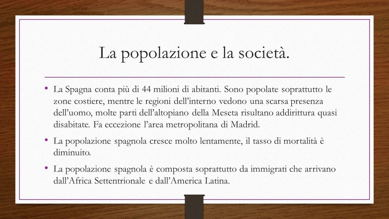 La popolazione e la società. La Spagna conta più di 44 milioni di abitanti. Sono popolate soprattutto le zone costiere, mentre le regioni dell'interno