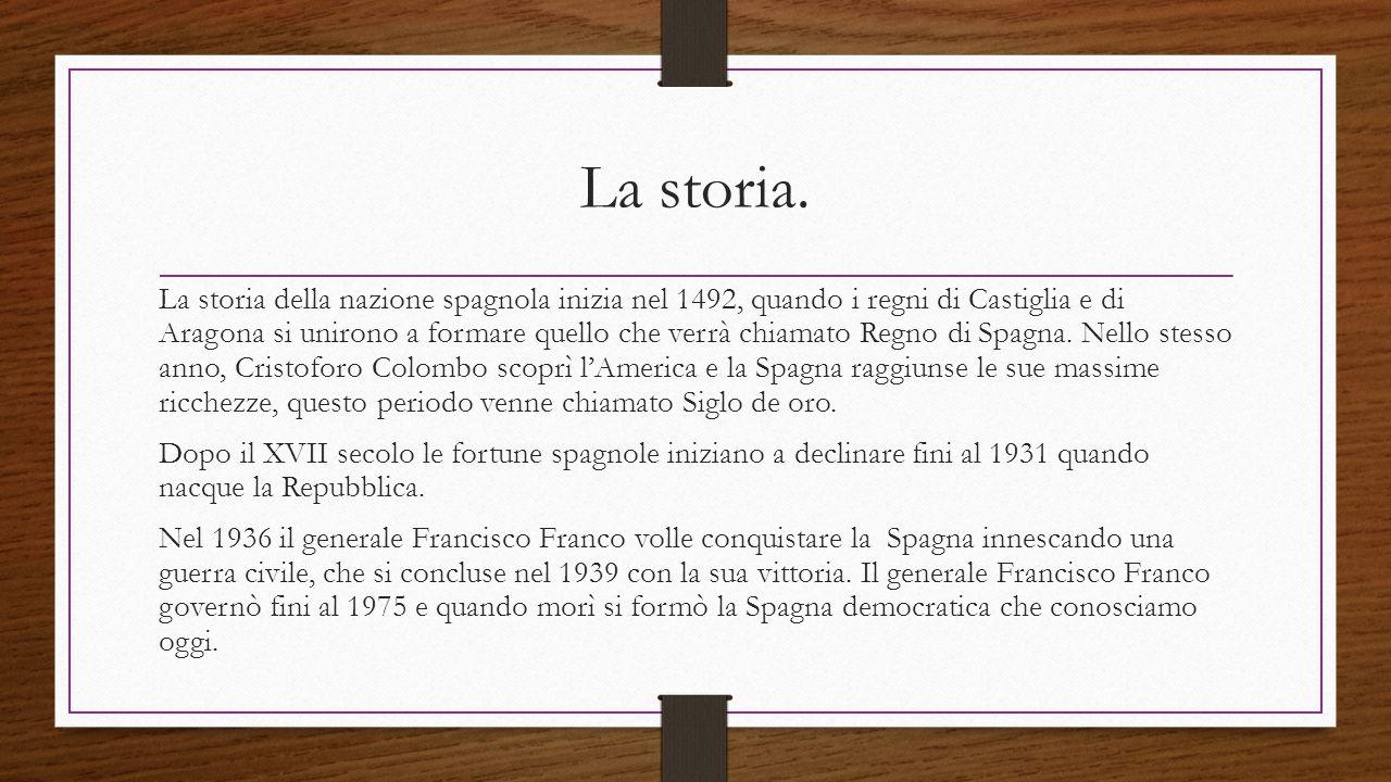 La storia. La storia della nazione spagnola inizia nel 1492, quando i regni di Castiglia e di Aragona si unirono a formare quello che verrà chiamato R