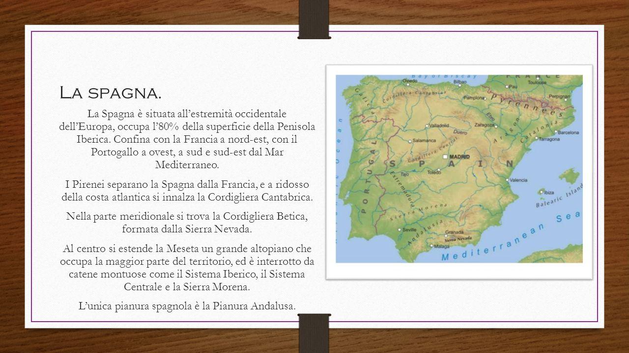 La spagna. La Spagna è situata all'estremità occidentale dell'Europa, occupa l'80% della superficie della Penisola Iberica. Confina con la Francia a n