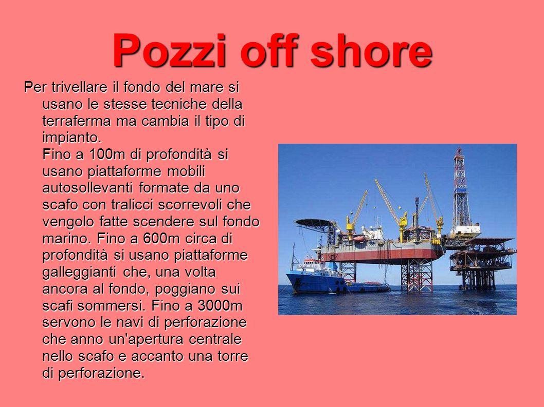 Pozzi off shore Per trivellare il fondo del mare si usano le stesse tecniche della terraferma ma cambia il tipo di impianto. Fino a 100m di profondità