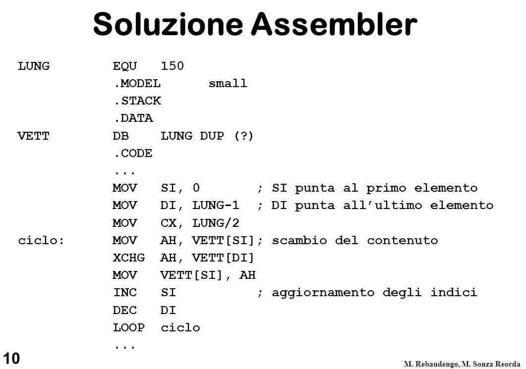 10 M. Rebaudengo, M. Sonza Reorda Soluzione Assembler LUNGEQU150.MODELsmall.STACK.DATA VETT DB LUNG DUP (?).CODE... MOV SI, 0 ; SI punta al primo elem