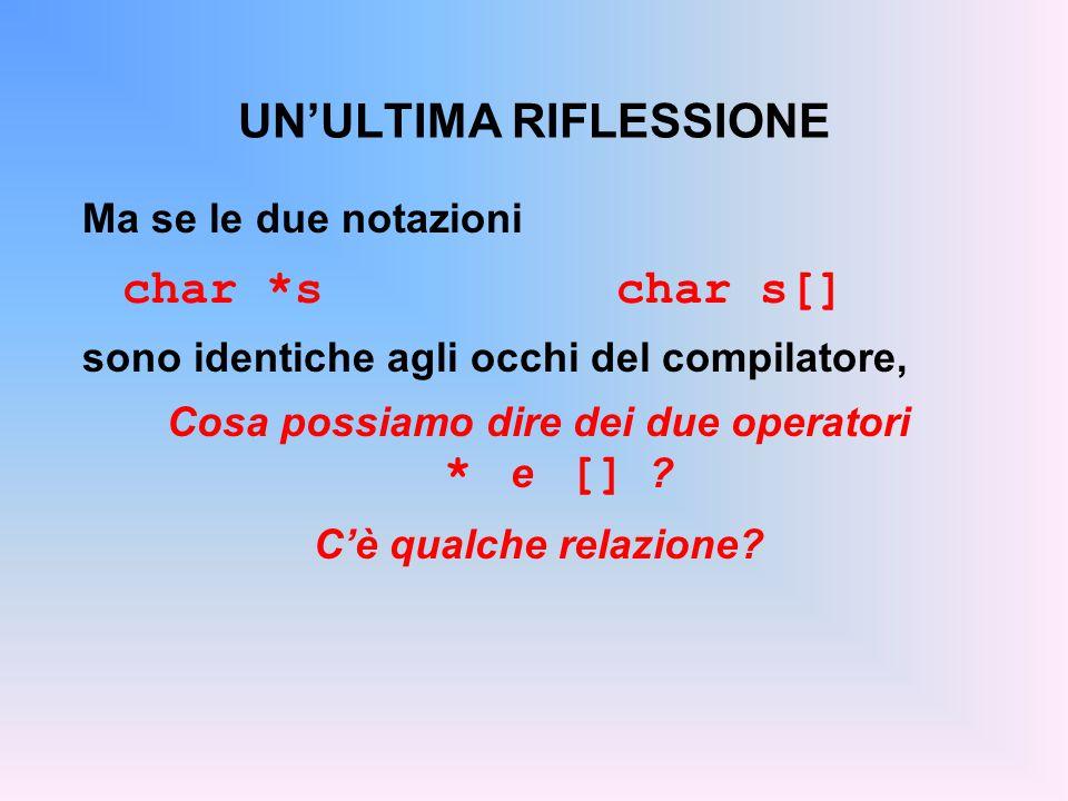 UN'ULTIMA RIFLESSIONE Ma se le due notazioni char *schar s[] sono identiche agli occhi del compilatore, Cosa possiamo dire dei due operatori * e [] .